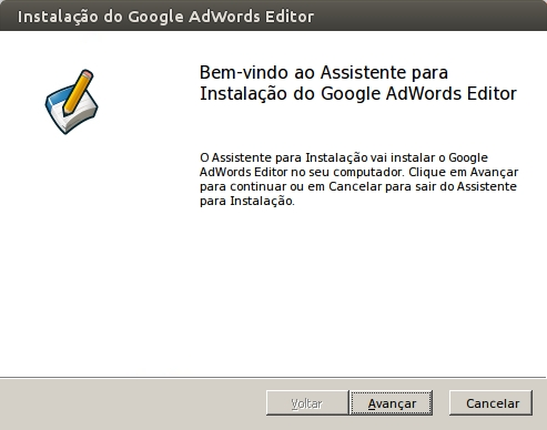 Janela do WINE do Adwords Editor