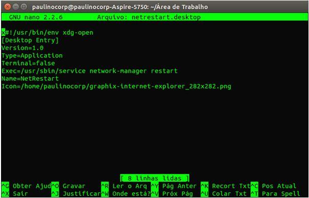 Nano editor no Ubuntu